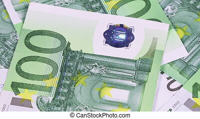 Background of 100 euro banknotes