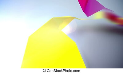 Background of 3d geometric shapes. Seamless loop.