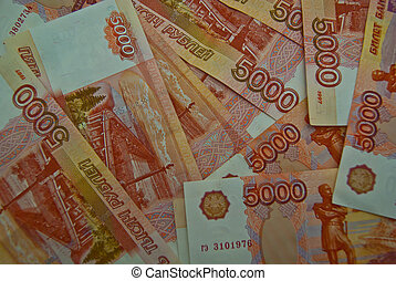 Background of 5000 Russian banknotes