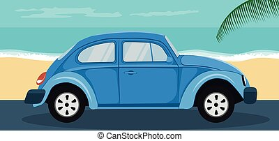 Background of a blue classic car parked on the beach