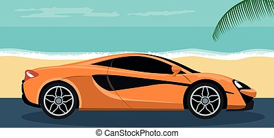Background of a luxury sports car on the beach in summer