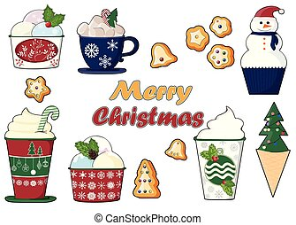 background of a set of colorful delicious cupcakes, cakes, desserts, ice cream with Christmas and new year decorations.flat style. Vector. elements for the new year, holiday cards, greeting cards