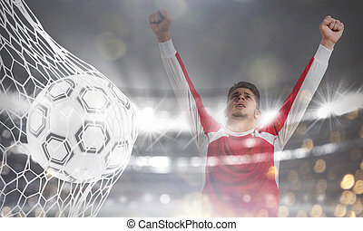 Background of a soccer ball scores a goal on the net. 3D...
