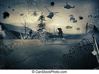 Background of a war - Background of a landscape at war with...