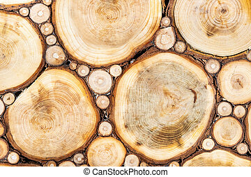 background of a wooden section of a bar.The texture of a wooden log house