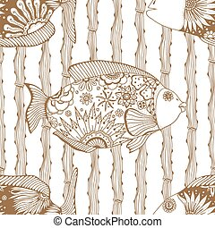 background of abstract fish - Seamless background of...
