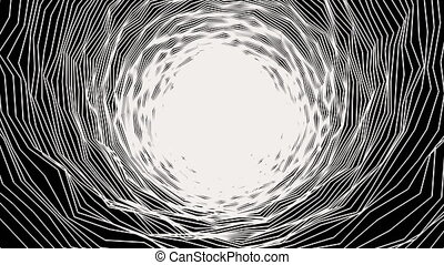 Background of abstract tunnel in black and white