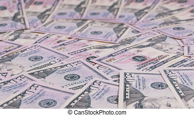 Background of American Banknotes Value of 50 Dollar Rotate -...