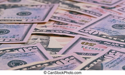 Background of American Banknotes Value of 50 Dollar Rotate