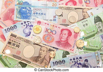 Background of asian currency (include Korean Won, Taiwan ...
