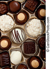 Background of assorted candy chocolates