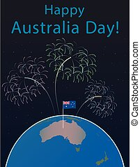 Background of Australia Day , National Celebration Card, Vector, on a globe  the planet Earth, in space Flag and salute