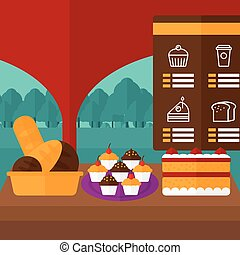 Background of bakery with table full of bread and pastries.