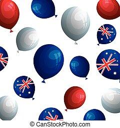 background of balloons helium with flag australia