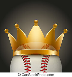 Background of Baseball ball with royal crown