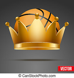 Background of Basketball ball with royal crown