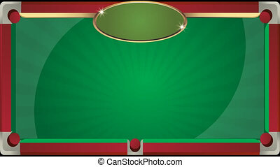 Background of billiard table with animation. Billiard club.