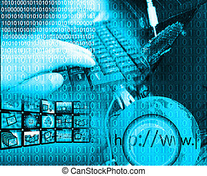 background of binary code - Composition, which depicts a...