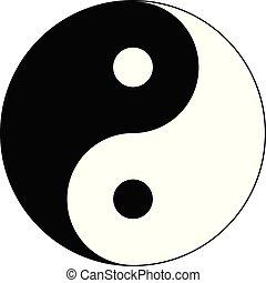 Background of black and white of Yin Yang symbol