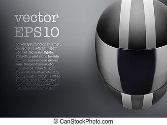 Background of black motorcycle helmet with strip
