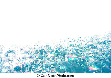 Background of blue foam bubbles