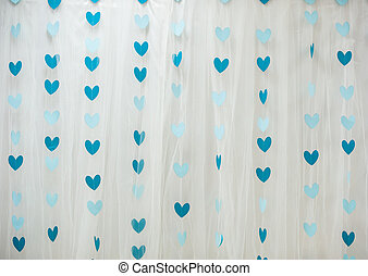 background of blue hearts on Valentine's Day