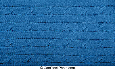 Background of blue knitted wool fabric texture