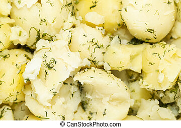Background of boiled potatoes