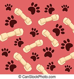 background of bones dog and paw prints