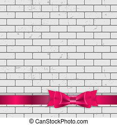Background of Brick Wall Texture with Bow and Ribbon Vector Illustration
