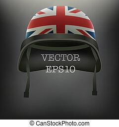 Background of British flag helmet vector