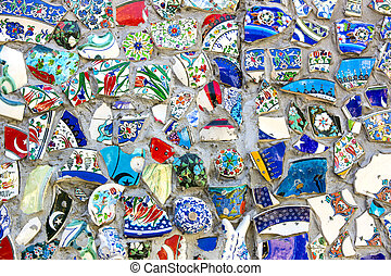 background of broken plates