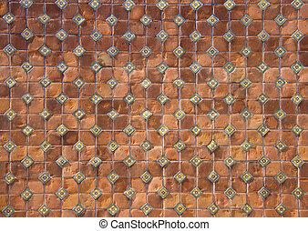 background of brown ceramic tiles