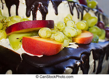 background of cake with fruit closeup