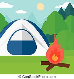 Background of camping site with tent.