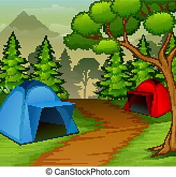 Background of campsite in the nature