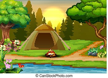 Background of campsite on sunset landscape