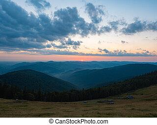 Background of Carpathians mountains, west Ukraine. The sun...