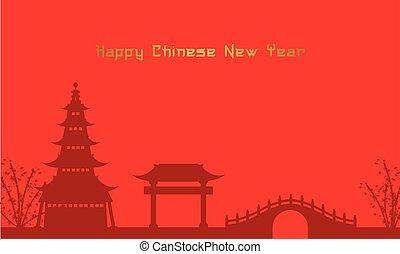 Background of Chinese theme pavilion and bridge