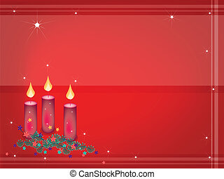 Background of Christmas Candles Decoration on Fir Twigs