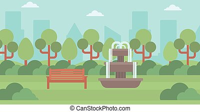 Background of city park with fountain.
