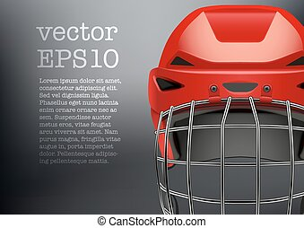 Background of Classic red Ice Hockey goalkeeper Helmet with visor. Sports Vector illustration isolated on white background.