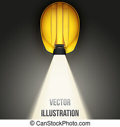 Background of Classic vintage miners helmet with lamp. Top view. Vector illustration on a white background