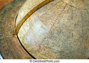 closeup of vintage globe