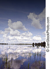 Background of cloudy sky reflection on lake