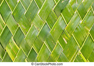 Background of coconut leaf, Thai- style handicraft art with ...