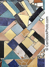 Background of Colored Mosaic with Old Tiles