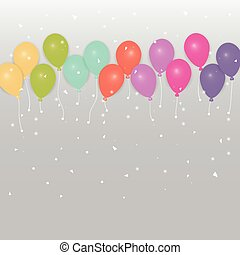 Background of colored party balloons and confetti