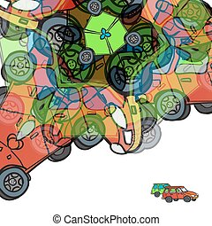Background of colorful abstract cars with space for text