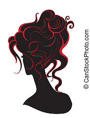 Girl with abstract hair and design wave elements